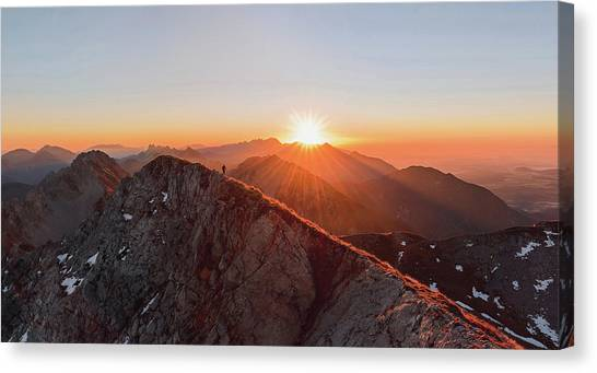 Ledge Canvas Print - Running On The Ridge by Ales Krivec
