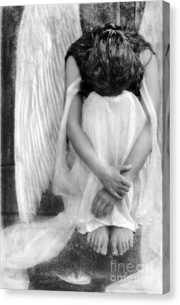 Sad Angel Woman Canvas Print