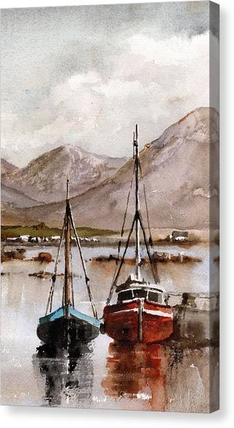 Galway Hooker Canvas Print - Safe Haven by Val Byrne
