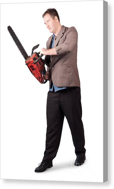 Chainsaw Canvas Print - Sales Man Holding Chainsaw. Slashing Sale Prices by Jorgo Photography - Wall Art Gallery