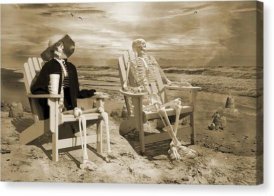 Sand Castles Canvas Print - Sam Exchanges Tales With An Old Friend by Betsy Knapp