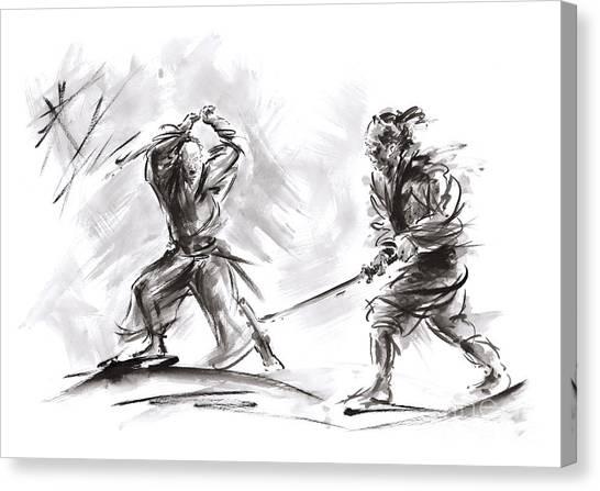 Print On Canvas Print - Samurai Fight. by Mariusz Szmerdt