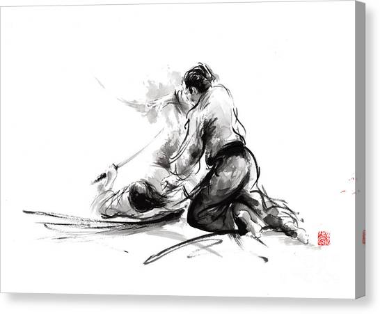Kung Fu Canvas Print - Samurai Sword Bushido Katana Martial Arts Budo Sumi-e Original Ink Painting Artwork by Mariusz Szmerdt