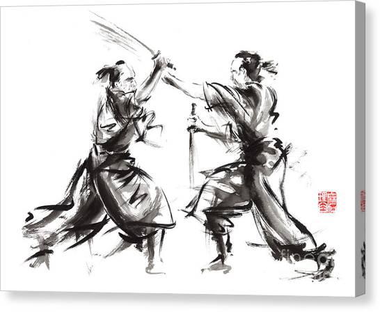 Samurai Canvas Print - Samurai Sword Bushido Katana Martial Arts Budo Sumi-e Original Ink Sword Painting Artwork by Mariusz Szmerdt