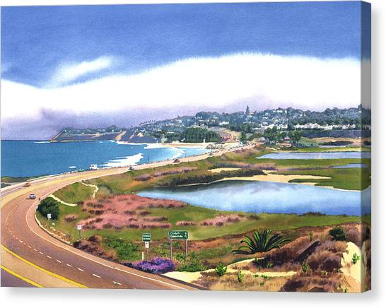 Highways Canvas Print - San Elijo And Hwy 101 by Mary Helmreich