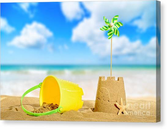 Sandcastle Canvas Print - Sandcastle On The Beach by Amanda Elwell