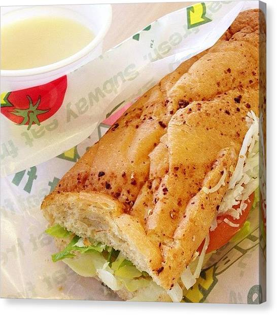 Sandwich Canvas Print - #sandwiches & #soup #lunch #subway by Takeshi O