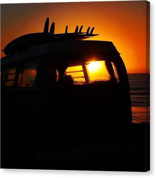 Vw Bus Canvas Print - Vw Bus At Sunset by Hal Bowles