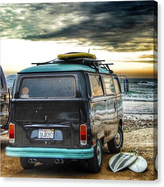 Vw Bus Canvas Print - Sano Surf Bus And Boards by Hal Bowles