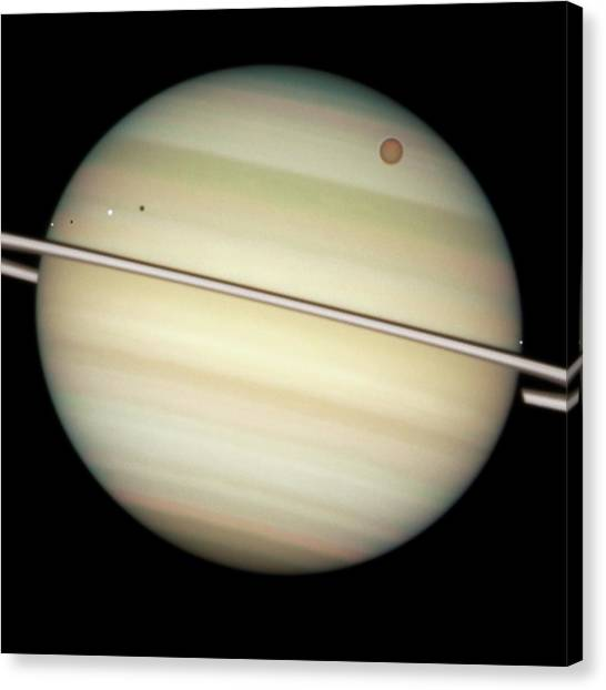Saturn Canvas Print - Saturn And Moon Transits by Nasa/esa/hubble Heritage Team (stsci/aura)/science Photo Library