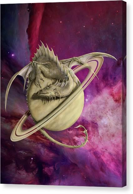 Saturn Canvas Print - Saturn Dragon by Rob Carlos
