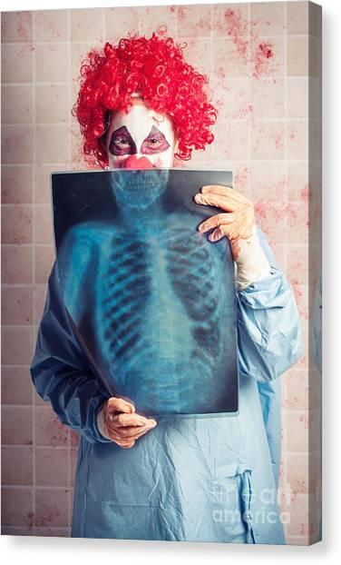 Clown Art Canvas Print - Scary Clown Peeking Behind X-ray. Funny Bones by Jorgo Photography - Wall Art Gallery
