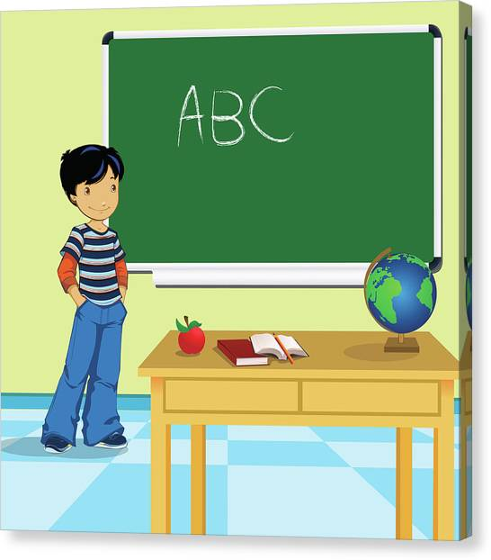Classroom Canvas Print - Schoolboy Standing In A Classroom by Fanatic Studio / Science Photo Library