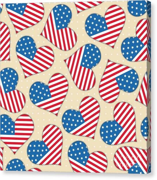 Culture Canvas Print - Seamless Pattern For 4th Of July by Allies Interactive