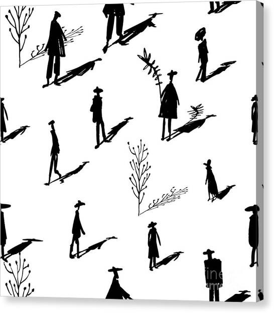 Shadow Canvas Print - Seamless Pattern Of Trees And People by Yurta