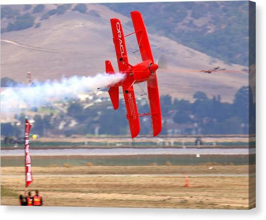 Sean Tucker Cuts The Ribbon In His Oracle Challenger At Salinas Ksns Airshow Canvas Print by John King