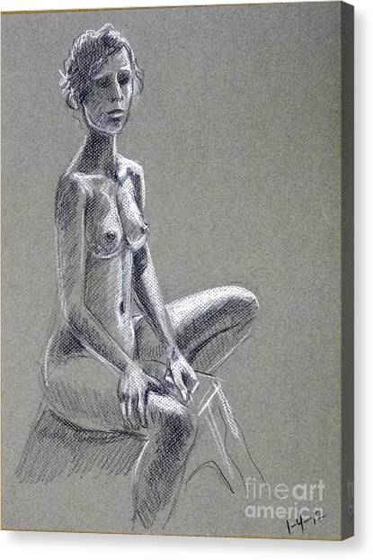 Seated Female Model Canvas Print