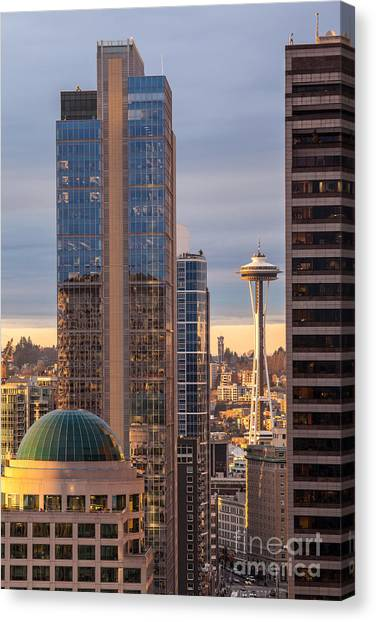 Space Needle Canvas Print - Seattle Space Needle Golden Sunset Light by Mike Reid