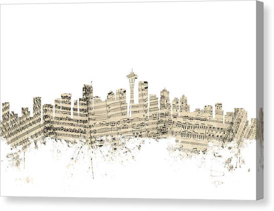 Seattle Skyline Canvas Print - Seattle Washington Skyline Sheet Music Cityscape by Michael Tompsett