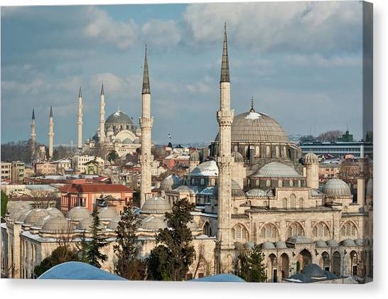 Suleymaniye Canvas Print - Sehzade Mosque by Salvator Barki