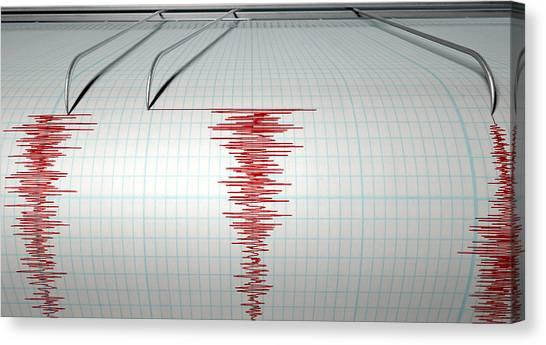 Electronic Instruments Canvas Print - Seismograph Earthquake Activity by Allan Swart