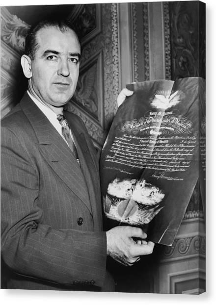 Cold War Canvas Print - Senator Joseph R. Mccarthy by Underwood Archives