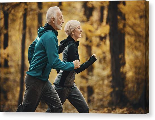 Senior Couple Jogging In A Forest. Canvas Print by Gilaxia
