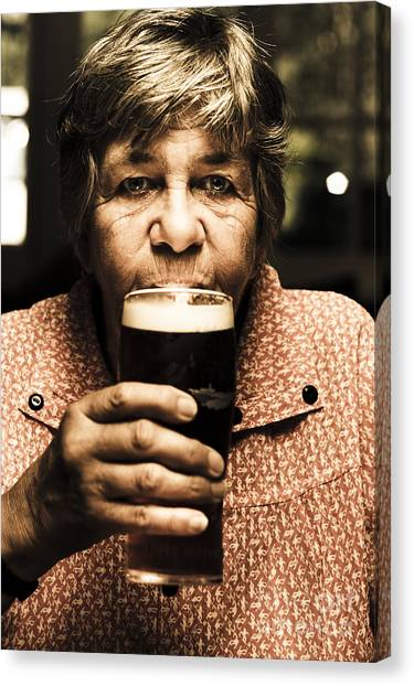 Pint Glass Canvas Print - Senior Person Enjoying A Cold Beer At Bowls Club by Jorgo Photography - Wall Art Gallery