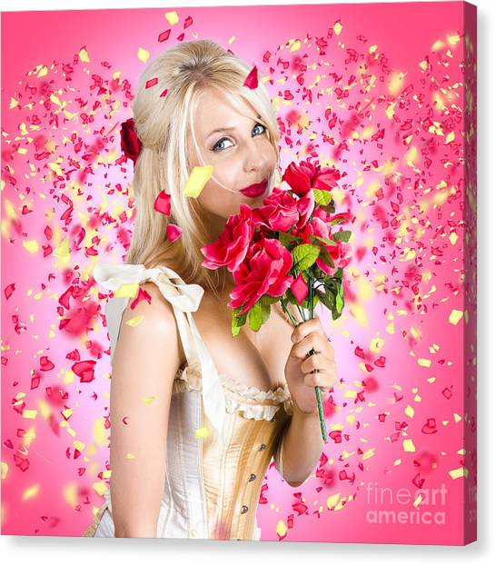 Daydream Canvas Print - Sentimental Lady With Flowers. Falling In Love by Jorgo Photography - Wall Art Gallery