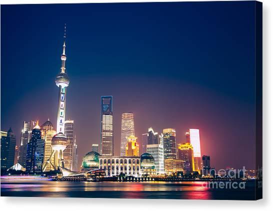Shanghai Skyline Canvas Print - Shanghai Pudong  by Fototrav Print