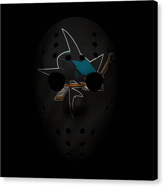 San Jose Sharks Canvas Print - Sharks Jersey Mask by Joe Hamilton