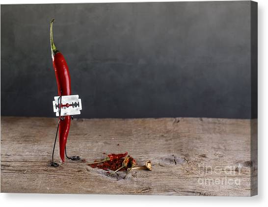 Peppers Canvas Print - Sharp Chili by Nailia Schwarz