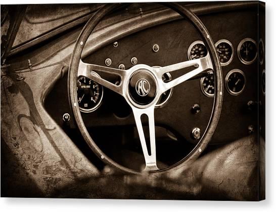 Cobras Canvas Print - Shelby Ac Cobra Steering Wheel Emblem by Jill Reger