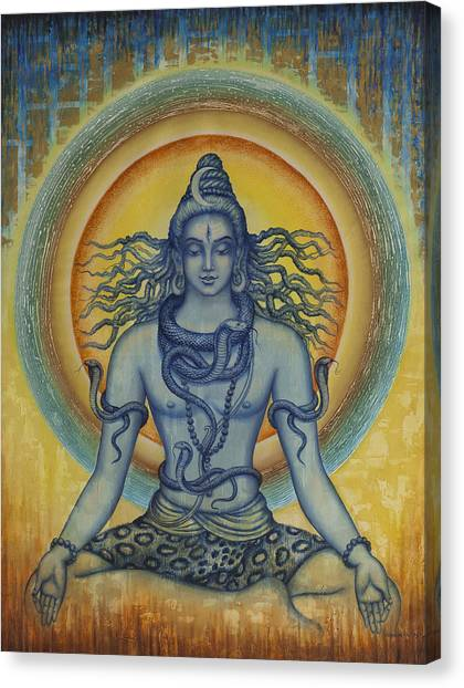 Cobras Canvas Print - Shiva by Vrindavan Das