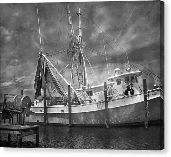 Shrimp Boats Canvas Print - Shrimpin' Boat Captain And Mates by Betsy Knapp