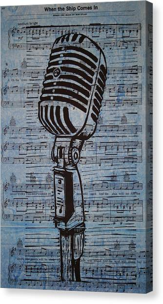 Shure 55s On Music Canvas Print