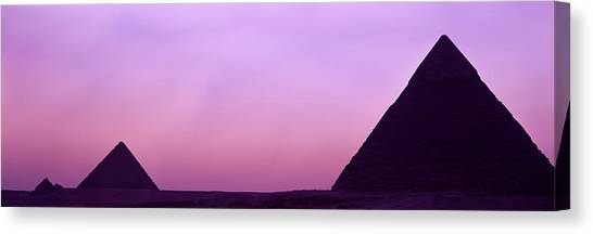 Egyptian Art Canvas Print - Silhouette Of Pyramids At Dusk, Giza by Panoramic Images