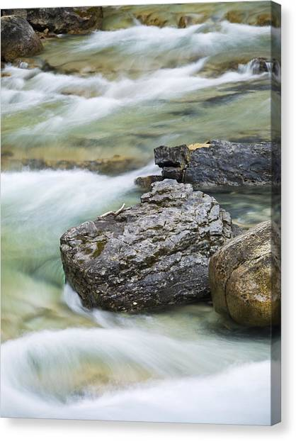 Silk And Stone Johnston Canyon Canvas Print by Richard Berry