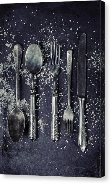 Condiments Canvas Print - Silverware With Salt by Joana Kruse