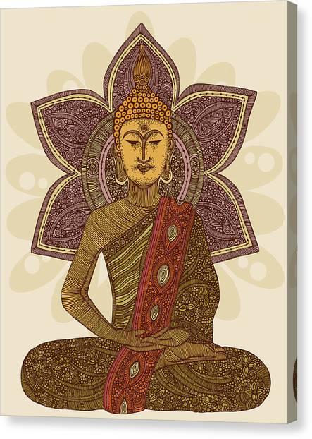 Buddha Canvas Print - Sitting Buddha by Valentina Ramos