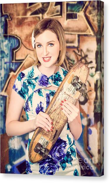 Skateboarding Canvas Print - Skater Girl From 1950s Holding Wooden Skate Deck by Jorgo Photography - Wall Art Gallery