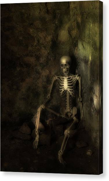 Skeletons Canvas Print - Skeleton by Amanda Elwell