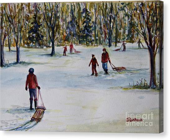 Sledding Canvas Print by Joyce A Guariglia