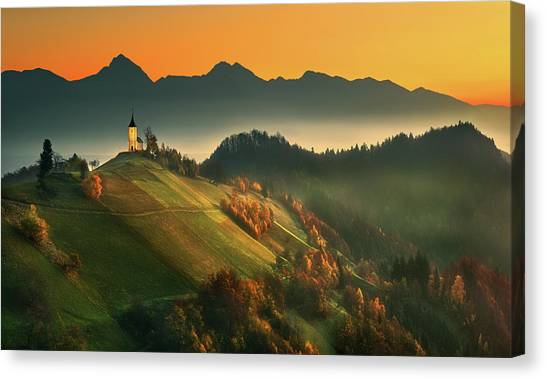 Foggy Forests Canvas Print - Slovenian Autumn... by Krzysztof Browko