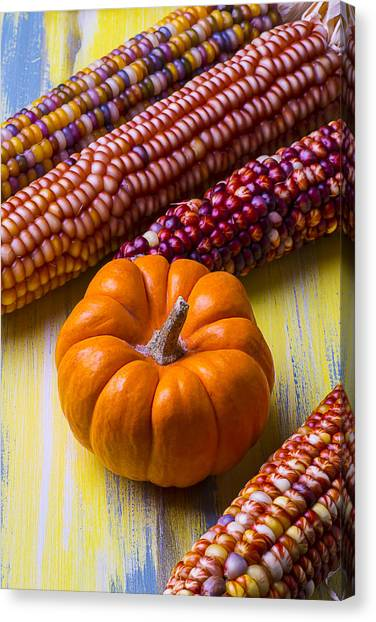Indian Corn Canvas Print - Small Pumpkin And Indian Corn by Garry Gay