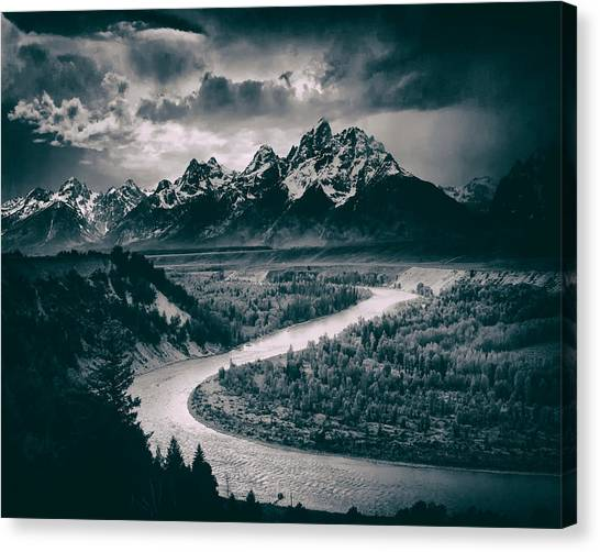 Ansel Adams Canvas Print - Snake River In The Tetons - 1930s by Mountain Dreams