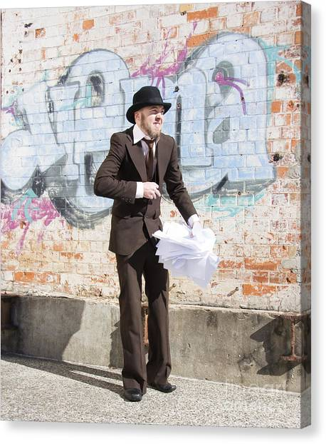 Sly Canvas Print - Sniggering Salesman by Jorgo Photography - Wall Art Gallery