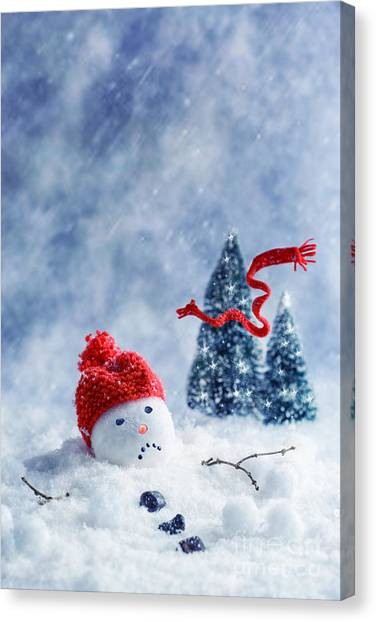 Snowball Canvas Print - Snowman  by Amanda Elwell