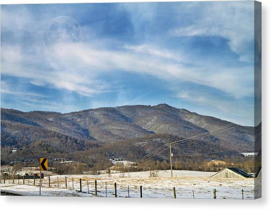 Country Roads Canvas Print - Snowy High Peak Mountain by Betsy Knapp