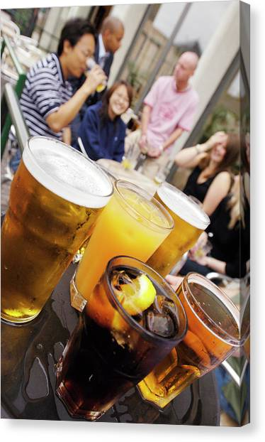 Pint Glass Canvas Print - Social Drinking by Jim Varney/science Photo Library